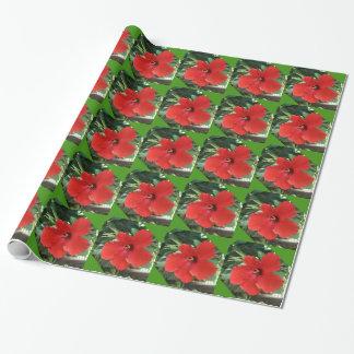 ハイビスカスの赤いギフトの包装紙 ラッピングペーパー