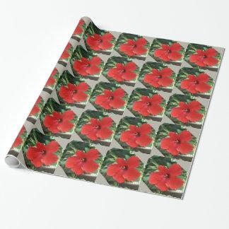 ハイビスカスの赤く、銀製のギフトの包装紙 ラッピングペーパー