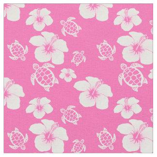 ハイビスカスのHonuのピンクのハワイアン ファブリック