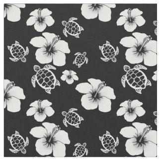 ハイビスカスのHonuの白黒ハワイアン ファブリック