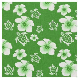 ハイビスカスのHonuの緑のハワイアン ファブリック