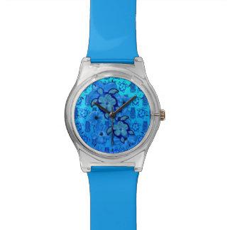ハイビスカスのHonuの青いカメTiki 腕時計