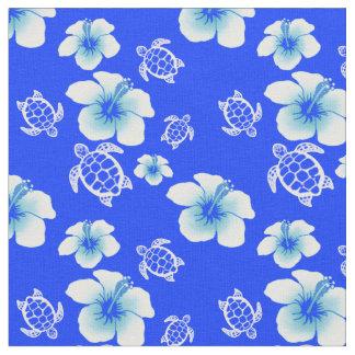 ハイビスカスのHonuの青いハワイアン ファブリック