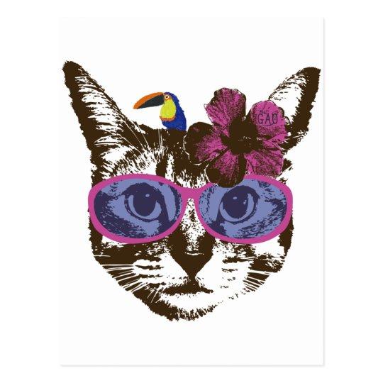 ハイビスカス猫 ポストカード