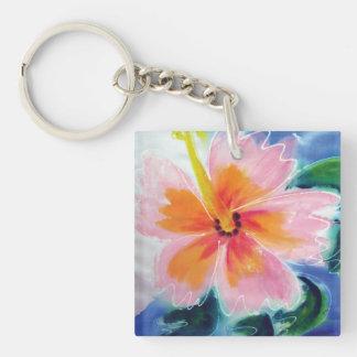 ハイビスカス、ピンク、マウイ、熱帯ハワイ花 キーホルダー