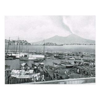ハウスボートが付いているナポリ、1908年、港およびVesuvius ポストカード