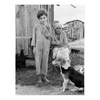 ハウンドドッグ1935年を持つSharecropper家族 ポストカード