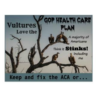 ハゲタカ反GOPのヘルスケアの計画の郵便はがき ポストカード