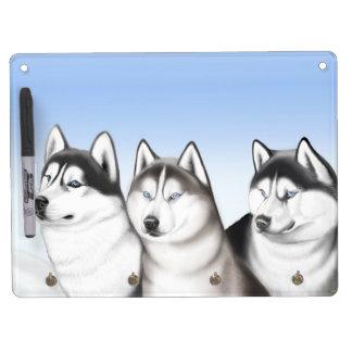 ハスキーなそり犬のホワイトボード キーホルダーフック付きホワイトボード