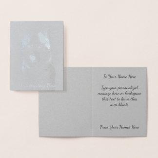 ハスキーなカード名前入りでハスキーな犬は銀を梳きます 箔カード