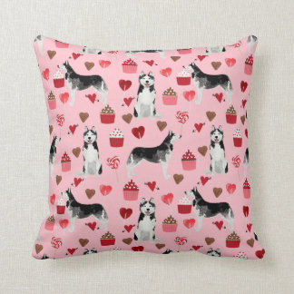 ハスキーなバレンタインデー犬の枕 クッション