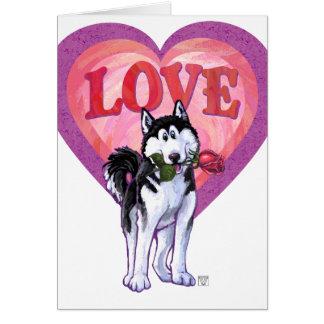 ハスキーなバレンタインデー カード