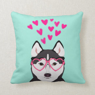 ハスキーなバレンタイン犬の枕 クッション