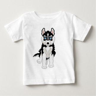 ハスキーな子犬のベビーのティー ベビーTシャツ