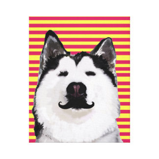 ハスキーな犬のストライプは壁の芸術を選抜します キャンバスプリント