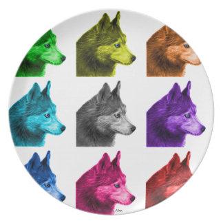 ハスキーな犬の芸術6048 WB プレート