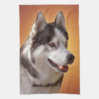 ハスキーな犬タオルのハスキーなマラミュートのふきん キッチンタオル