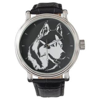 ハスキーな腕時計のシベリアンハスキーのマラミュートの腕時計 腕時計