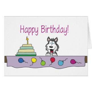 ハスキーな誕生日を共有して下さい カード