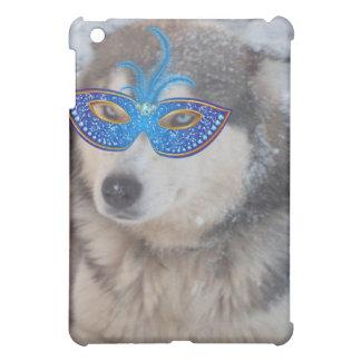 ハスキーなBlueEyesの謝肉祭のマスクが付いているIPodの箱 iPad Miniケース