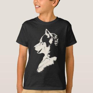 ハスキーなTシャツの子供のそり犬の芸術のTシャツ Tシャツ