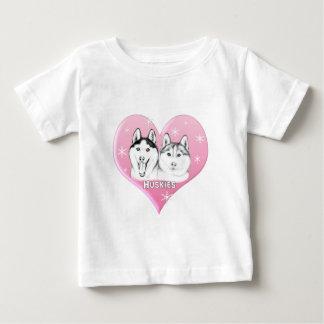 ハスキーのピンク ベビーTシャツ