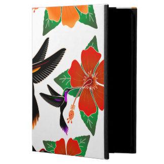 ハチドリおよびハイビスカスのろうけつ染めのiPadの空気箱 iPad Airケース