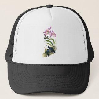 ハチドリおよびピンクの蘭 キャップ