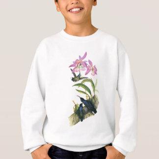 ハチドリおよびピンクの蘭 スウェットシャツ