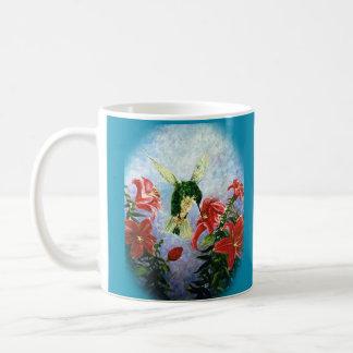 ハチドリおよび占星家のユリの芸術のマグ コーヒーマグカップ