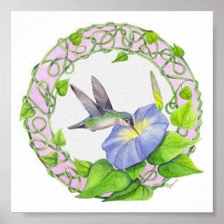 ハチドリおよび朝顔のつる植物のリースポスター ポスター