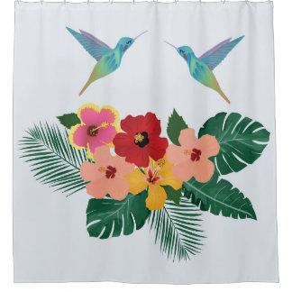 ハチドリおよび花のシャワー・カーテン シャワーカーテン