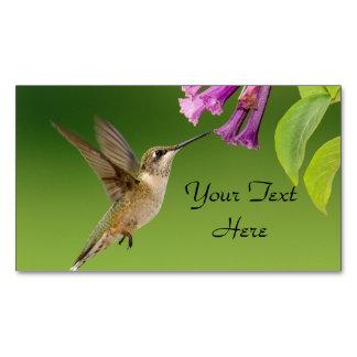 ハチドリおよび花 マグネット名刺