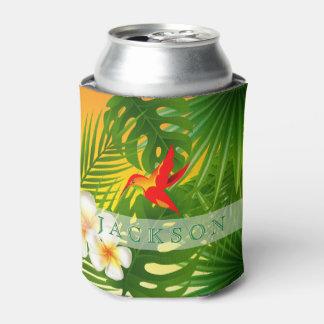 ハチドリが付いている熱帯日光 缶クーラー