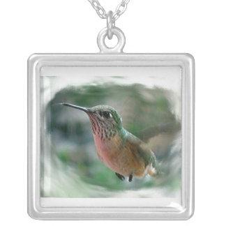 ハチドリのデジタル自然の野性生物の写真の鳥 シルバープレートネックレス
