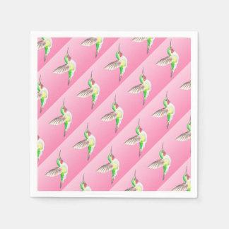 ハチドリのピンクのステンドグラス スタンダードカクテルナプキン