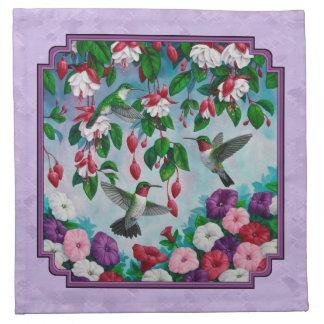 ハチドリのピンクの明るい赤紫色によってはラベンダーが開花します ナプキンクロス
