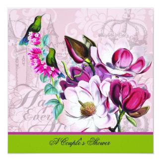 ハチドリのマグノリアのカップルのシャワーの招待状 13.3 スクエアインビテーションカード