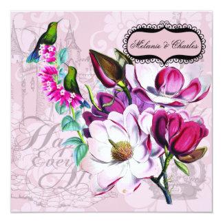 ハチドリのマグノリアの正方形の結婚式招待状 カード