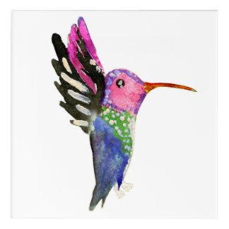 ハチドリの幼稚な水彩画の絵画 アクリルウォールアート