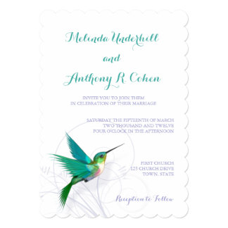 ハチドリの渦巻5x7の結婚式招待状 カード