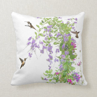 ハチドリの花の枕 クッション