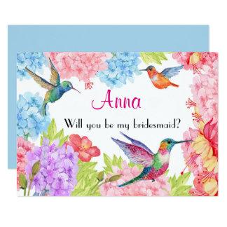 ハチドリの花柄は私の新婦付添人ですか。 カード