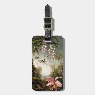 ハチドリの荷物のラベルを持つスプレーの蘭 ラゲッジタグ