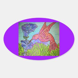 ハチドリの青 楕円形シール