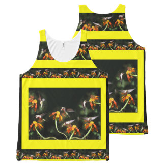ハチドリの鳥のヒマワリの花の花柄の庭 オールオーバープリントタンクトップ