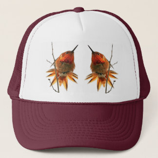 ハチドリの鳥の動物の野性生物の花柄 キャップ
