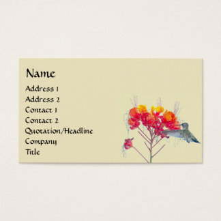 ハチドリの鳥の動物の野性生物の花柄 名刺