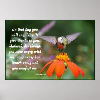 ハチドリの鳥の花の花のアイザイアの12:2 ポスター