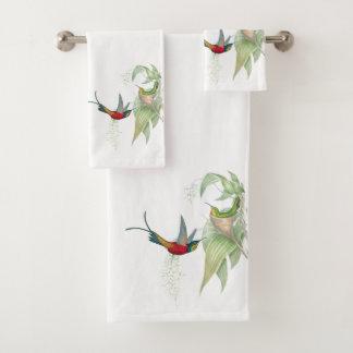 ハチドリの鳥の花のBathタオルセット バスタオルセット